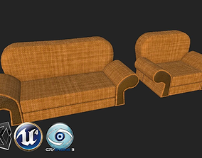 3D model game-ready Cartoon stylized cauch and chair