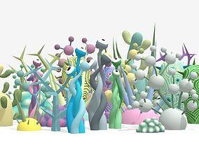 Alien Toon Plants 3D model game-ready