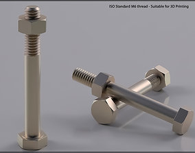 Bolt and Nut M6 thread Suitable for 3D Printing