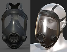 3D asset Gas mask helmet safety isolated plastic