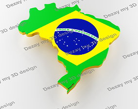 Map of Brazil land border with flag 3D model brazil