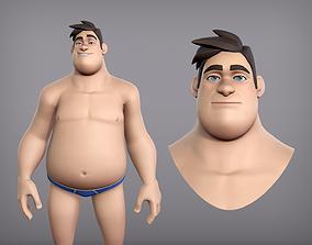 3D asset Cartoon male character Harold base mesh