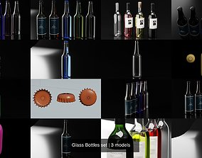 3D Glass Bottles set