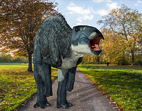 animated Shantungosaurus dinosaur 3D Model With 2