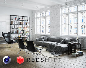 Living Room Interior Scene for Cinema 4D and Redshift 3D