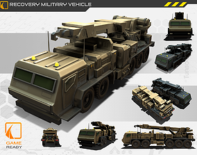 low-poly Recovery Truck Military Vehicle Game Asset 2