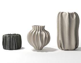 Vase Set 20 3D model crumpled