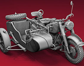 ww2 R75 Motorcycle HighPoly Model with mg42 3D
