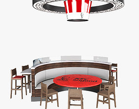Fast Food Circle Table 3D
