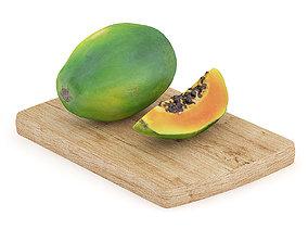 3D Papaya on Wooden Board