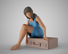 Woman Leaving with Suitcase 3D print model