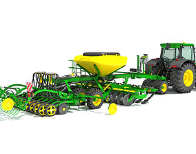 3D model Tractor and Seed Drill