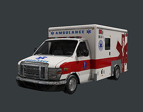 3D model Vehicle Ambulance Rescue Truck Game Ready