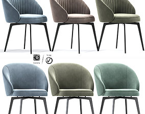 Amara Beige Chenille Dining Arm Chair 3D model
