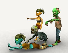 3D model animated Cartoon Zombies