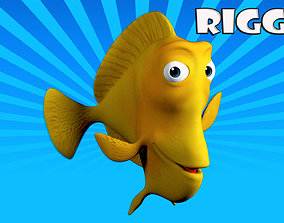 3D model rigged Cartoon yellow fish