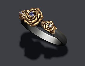3D print model Rose ring with gem