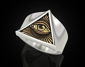 3D print model All seeing eye triangle ring
