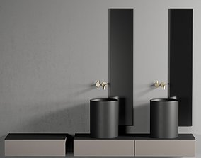 3D model GALASSIA Core Countertop Ceramic Washbasin Set 1