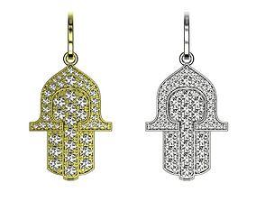 Hamsa gold diamond pendant Hand of Fatima 3D print model 3