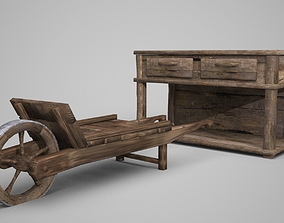 3D Model of Old Cabinet Wood Car in Ancient Times