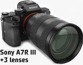 3D Sony Alpha 7R III with three lenses