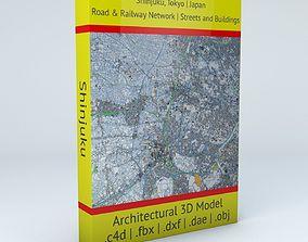 Shinjuku Railway System Road Network Streets 3D model 1