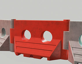 low-poly PLASTIC BARRIER 3D - Game Ready-VR