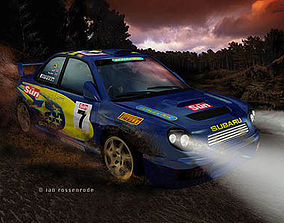 3D Subaru Impreza WRX rally car