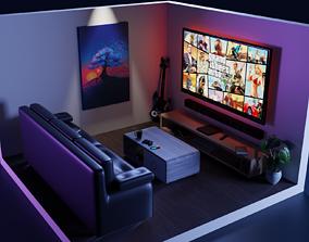 Elegant gaming room 3D