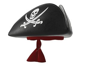 pirate tricorn hat with skulls and a red bandana 3D