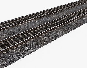 Railway Tracks 3D asset game-ready