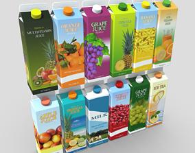 3D asset Juice Carton Pack 3