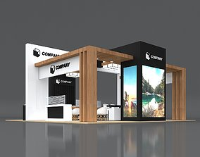 3D Exhibition Stand Booth Stall 10x10m Height 500cm 4 Side