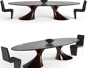 wood Annibale colombo dining table 1412 3D model