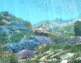 3D Cartoon Underwater Coral Reef Habitat Ocean animated 1