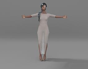 3D model rigged goddess