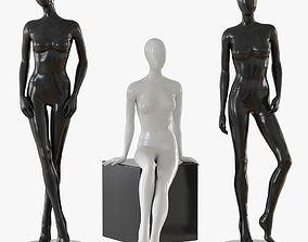 Abstract female mannequin black 3D model
