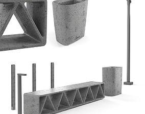 3D model Concrete street elements