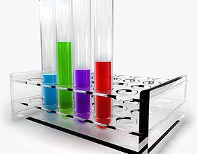 3D model Test tubes with liquid