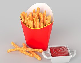 french fries 3D potatoes