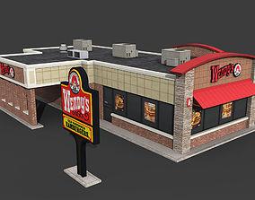 3D asset Wendys Restaurant