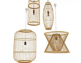 Lamp rattan bamboo outdoor 3 3D