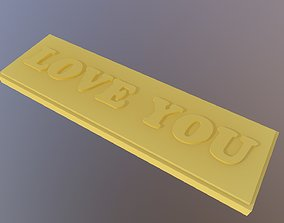 Love You label 3D printable model