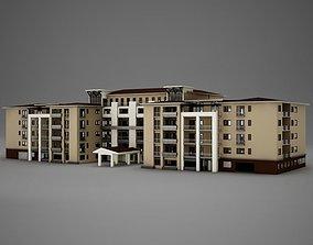 3D Modern Tropical Latin Mexican Beach Tower Hotel