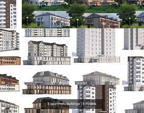 3D 5 apartment buildings