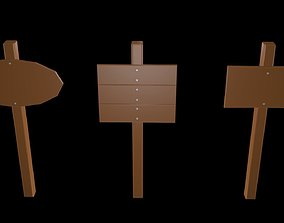 Low poly signboards 3D model