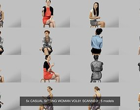 5x CASUAL SITTING WOMAN VOL01 SCANNED character 3D