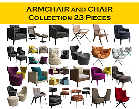 3D CHAIR and ARMCHAIR Collection 23 pieces