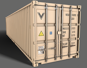 PBR 40 ft Shipping Cargo Container - White 3D asset